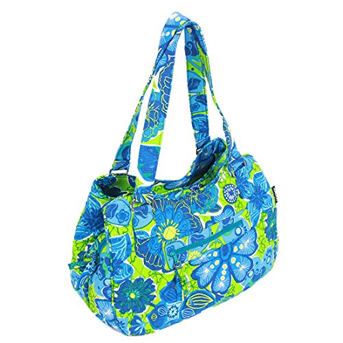 Green Cotton Quilted Bags Shoulder Bag Handle blue Xrwq0qWdxZ
