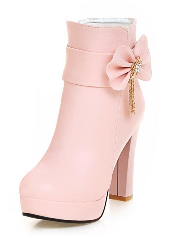 SHOWHOW Damen Süß Schleife Kurzschaft Stiefel Mit Absatz Stiefelette Pink 36 EU fLQi6