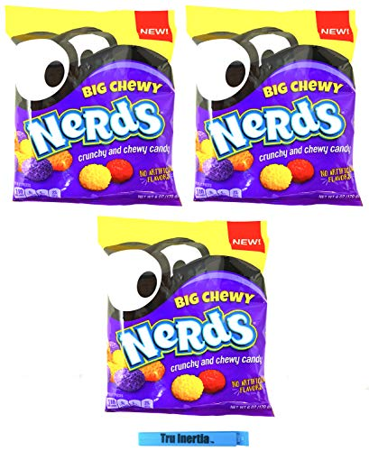 Nerds Big Chewy - Crunchy and Chewy Nerds Candy 6 Ounce - Pack of 3 with Tru Inertia Chip Clip
