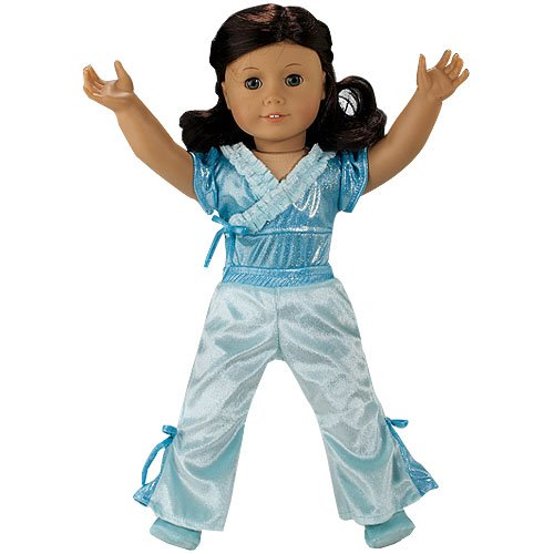 Doll Clothing 3 pc. Doll Jazz Outfit fit for American Girl Dolls, Set Includes Teal Velour Doll Leotard, Jazz Pants and Doll Slippers, Baby & Kids Zone