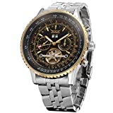 Forsining Men's Self winding Automatic Tourbillon Calendar Watch with Link Bracelet JAG034M4T2