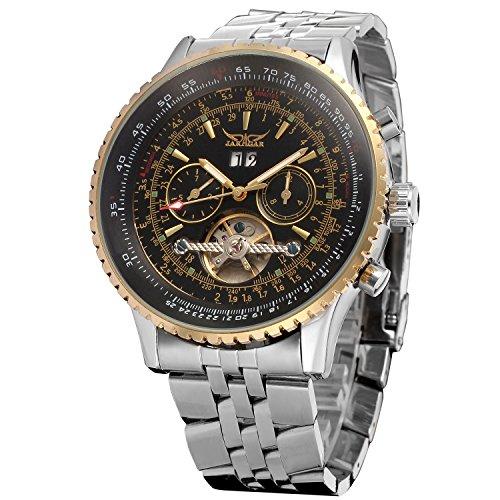 Forsining Men's Self winding Automatic Tourbillon Calendar Watch with Link Bracelet JAG034M4T2