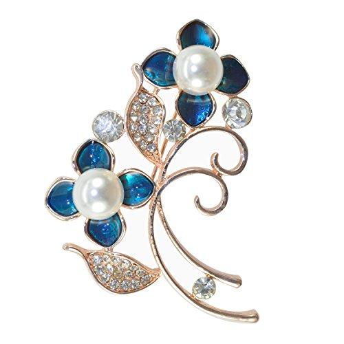 ated Pearl Stem Flower Blue Enamel Crystal Rhinestone Brooch Pin Rose Gold Tone ()