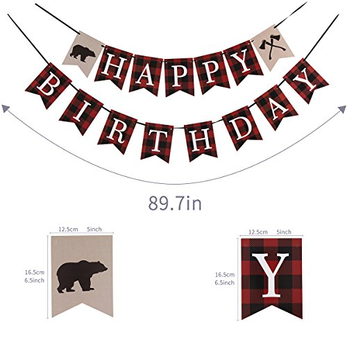 Lumberjack First Birthday Party Banner, Woodland Birthday and Baby Shower Party Decoration Photo #3