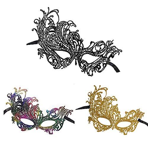 Masquerade Masks Lace Masks Halloween Mardi Gras Party Mask (Phoenix-3 Pack)]()
