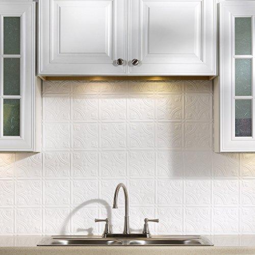 Fasade Easy Installation Traditional 1 Matte White Backsplash Panel for Kitchen and Bathrooms (18 sq ft Kit) (White Kitchen Backsplash compare prices)