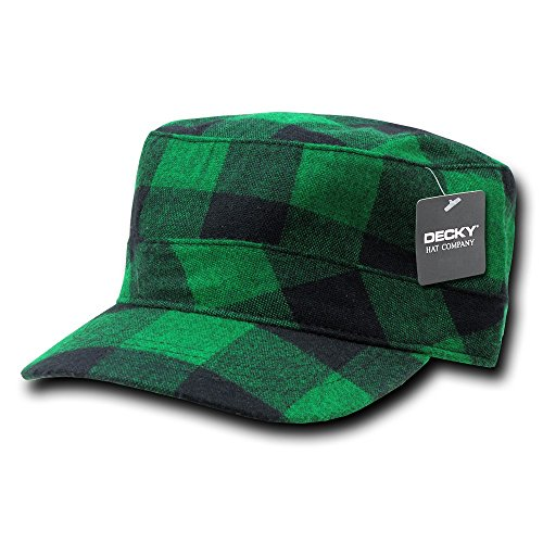 - DECKY Flannel Flat Top Cap, Green Plaid