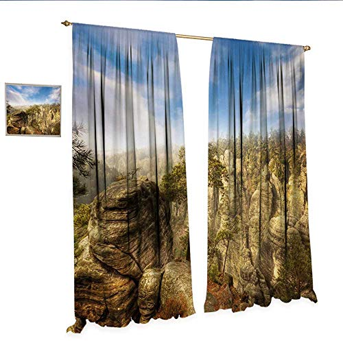 - WinfreyDecor Nature Decor Curtains by Wonders of The World National Park Rock Formation Czech Image Patterned Drape for Glass Door W96 x L84 Sky Blue Tan Cream Olive Green.jpg