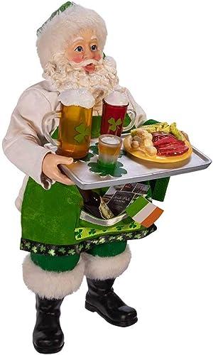 Kurt S. Adler Kurt Adler 10.5-Inch Fabrich Musical Irish Chef Santa, Multi