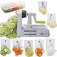 Brieftons 7-Blade Spiralizer: Strongest-and-Heaviest Duty Vegetable Spiral Slicer, Best Veggie Pasta Spaghetti