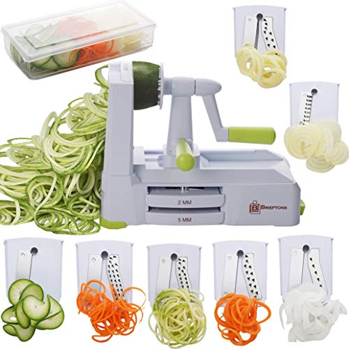 Brieftons 7-Blade Spiralizer: Vegetable Spiral Slicer, Veggie Pasta Spaghetti Maker for Low Carb/Paleo/Gluten-Free, With Container, Lid, Blade Caddy & 4 Recipe Ebooks