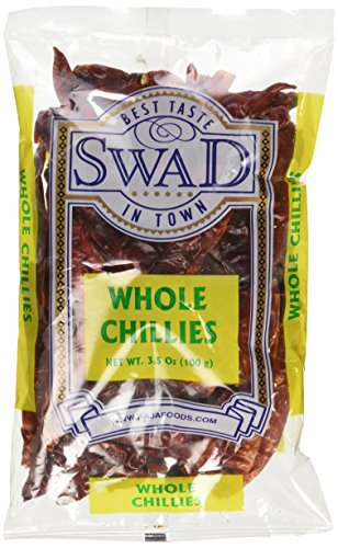Swad Whole Red Dried Chillies 3.5oz, 100 Grams/Indian Groceries