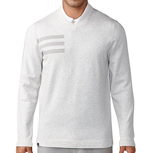 Adidas Golf 2018 Mens 3-Stripes Blend Crewneck Golf Sweater Grey Onix Heather (Crew Golf Sweater)