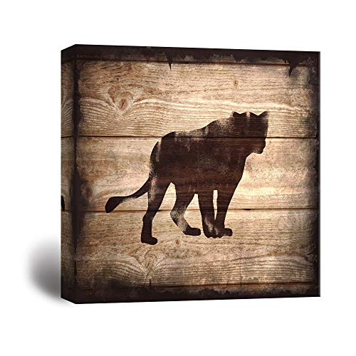 Square Lion Silhouette on Rustic Wood Board Texture Background