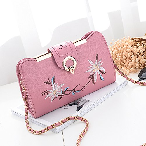 Pink Fashion Wolegequ New Leisure Tide Banquet Embroidery Gray Bag Personality Women Bangalore Chain Bag qqwF64O