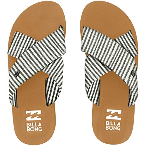 Billabong Women's Boardwalk Wedge Sandal, Black/White, 8 M US
