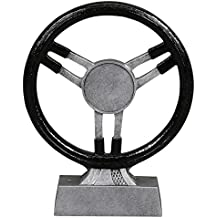 Steering Wheel Trophy - Automotive Award - Black / Silver Finish - Personalized & Engaved Gold Plate Included - Decade Awards