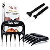 Ado Glo Bear Claw Meat Shredder - Easily Handle, Lift, Shred - 2 Pack Pulled Pork Shredder Claws with 2 Pack Oil Brushes (Black)