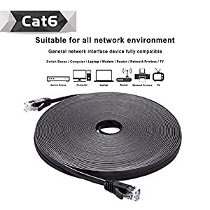 Cat 6 Ethernet Cable Black 150 ft (At a Cat5e Price but Higher Bandwidth) Flat Internet Network Cable - Cat6 Ethernet Patch Cable Short - Computer Lan Cable With Snagless RJ45 Connectors from CableMonsta