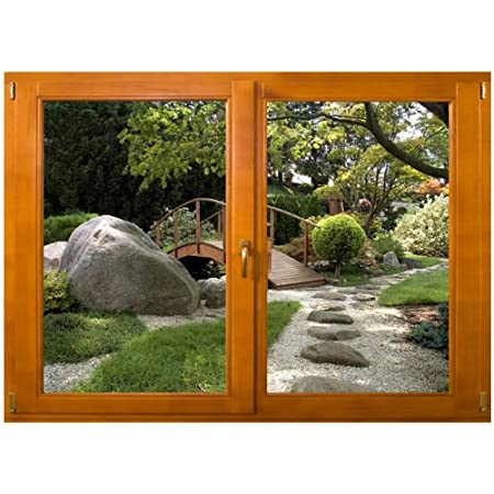 Trompe loeil window with japanese garden sticker choice of different sizes 148cm x