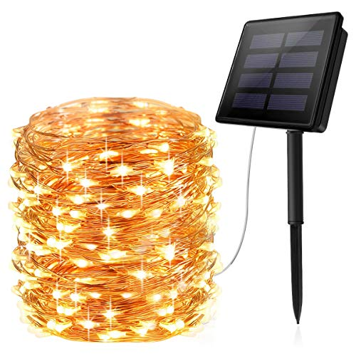 AOYOO Solar Powered String Lights, 100 LED Copper Wire Lights, 8 Modes Starry Lights, Waterproof IP65 Fairy Lights for Outdoor, Wedding, Homes, Party (Warm White)