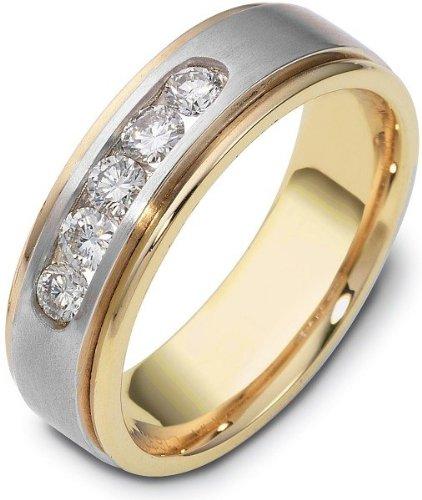 Designer 18 Karat Two-Tone Gold Round 5 Diamond Wedding Band Ring - 7.75