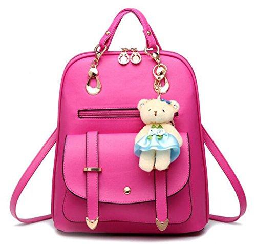 La mujer mochilas mochilas bolsas de cuero niñas grandes mochilas escolares mochila de viaje femenina Candy Color sólido qianhui meihong