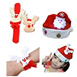 Christmas Stocking Stuffers - Xmas Party Favors Accessories. Santa Hats and ReinDeer Light Slap Bracelet For Kids