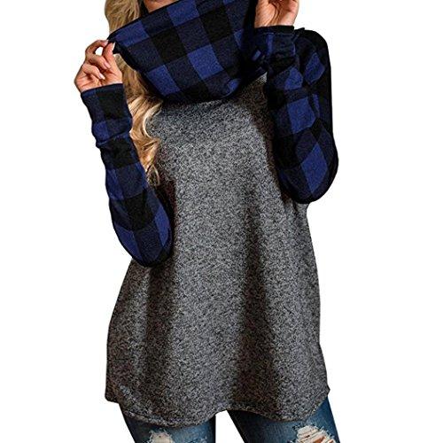 DAY8 femme vetements chic hiver mode chemise femme soiree blouse femme grande taille Printemps femme sport t shirt vetement femme pas cher haut femme manche longue carreaux top fille Bleu