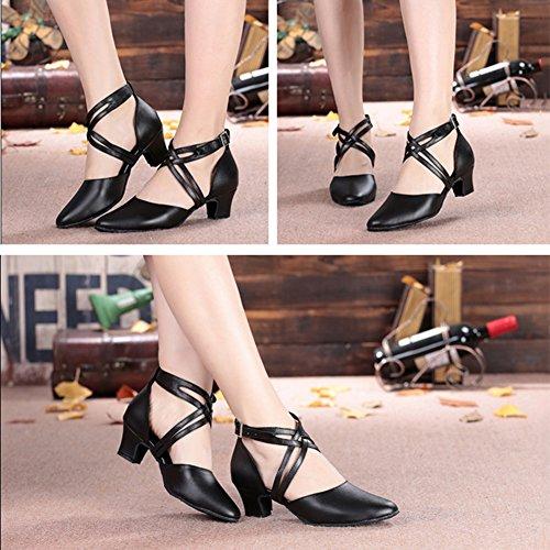 PENGFEI größe 5CM 6 Schwarze Stiefeletten L EU40 Tanzschuhe Schuhe Mädchen Farbe CM CM Lateinischer Damen Tanz 250mm High Heels UK6 CM 5 Ballsaal 8 5 qrrHUWnxw