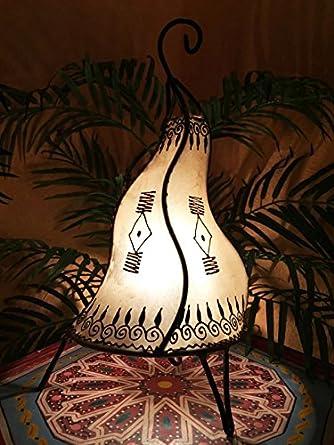 Abat-jour Lampe Luminaire Peau De Chèvre Cuir Henné Marocain Orientale Marrakech