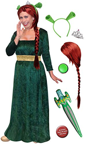 Sanctuarie Designs Women's Princess Fiona Shrek /Deluxe/ Plus Size Supersize Halloween Kit/2x/Green/