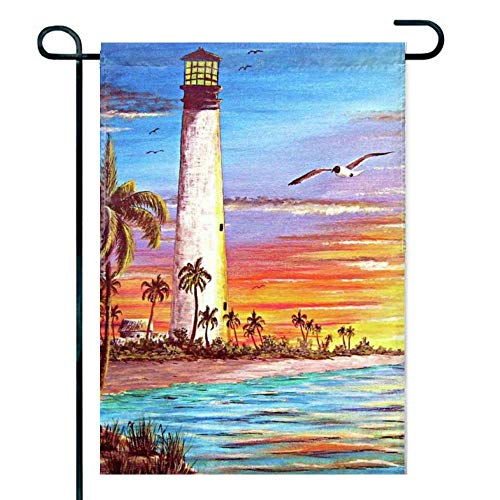 Feddiy Welcome Home Lighthouse-Sunrise Double Sided Garden Flag | 12 x 18 Inch Decorative House Flag for Outdoor Frontdoor Yard Party