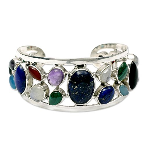NOVICA-Multi-Gem-Cultured-Freshwater-Pearl-925-Sterling-Silver-Cuff-Bracelet-Colors-of-Life