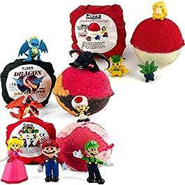 Bath Bomb with Hidden Toy TRIPLE PACK (Dragon, Pokemon, Mario)