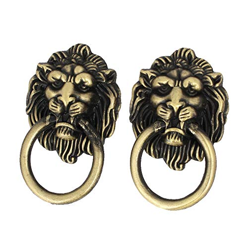 (SMALL-CHIPINC - 2Pcs Cupboard Drawer Cabinet 67mmx41mm Metal Lion Head Ring Pull Handles Grips for Cabinet,Bin,Wardrobe etc Hot Sale )