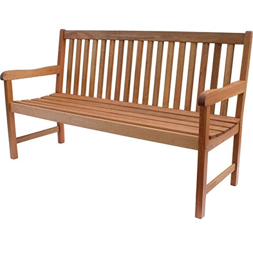 Classic Garden Bench seats 2 - 3, features a teak style and is constructed from 100% FSC Eucalyptus wood. Great outdoor patio furniture piece. Fits perfect in any backyard or outside living area. (Fsc Furniture Patio)