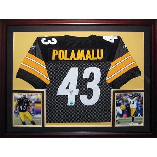 Troy Polamalu Autographed Pittsburgh Steelers (Black #43) Deluxe Framed Jersey - Polamalu Holo