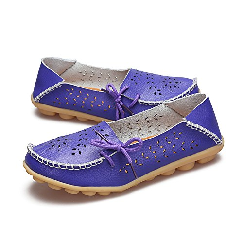 Dear-Queen Womens Leather Casual Loafer Shoes Purple aWn5AUW