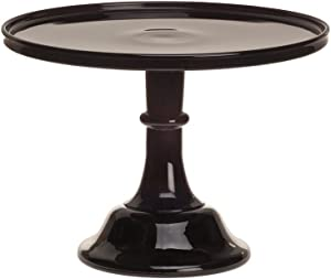 """10"""" Black Milk Glass Cake Stand Plate Bakers Quality"""