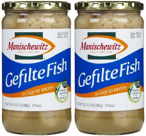 Manischewitz Gefilte Fish in Liquid Broth, Kosher for Passover, 24-ounce (Pack of 2) ()