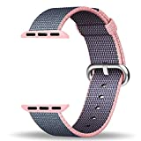 Apple Watch Strap 38mm, ZRO Premium Nylon Woven Smart Watch Replacement Wrist Watch Band with Adjustable Buckle for New Apple iWatch Series 2/ Series 1 (Light Pink&Midnight Blue)