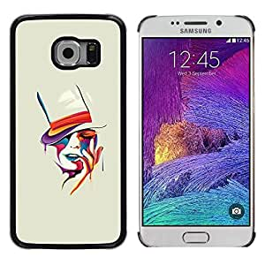Sensual mujer del sombrero de copa Pintura Naranja- Metal de aluminio y de plástico duro Caja del teléfono - Negro - Samsung Galaxy S6 EDGE (NOT S6)