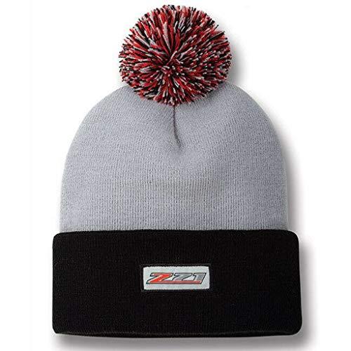 New Chevrolet Z71 Logo POM Silverado Knit Beanie Gray RED Chevy HAT/Cap TOP