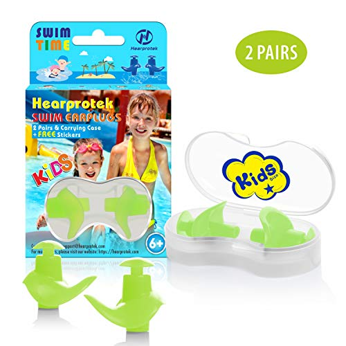 Hearprotek Swimming Ear Plugs, 2 Pairs Waterproof Reusable Silicone Ear Plugs for Swimmers Showering Bathing Surfing and Other Water Sports Kids Size (Green) (Best Water Ear Plugs)