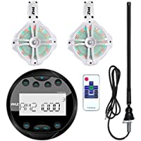 Pyle PLMR90UW Waterproof Bluetooth Marine Gauge Style MP3 Media Receiver Bundle Combo With 2x 6.5 Inch 200 Watt Wakeboard Multi Color LED Light Boat Tower Speakers + Enrock 22 AM/FM Radio Antenna