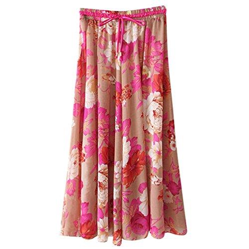 Jupe Imprim Mousseline t Longue Femmes Taille Mi Rtro ZKOOO Plage Rouge Floral Lache Skirts Jupes Haute de Boho HC40wvqx