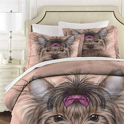 Yorkie Queen Size Sheet Set-3 Piece Set,Comforter Set Bed Comforter Set Bed Realistic Cute Animal Wrinkle, Fade, Stain Resistant Soft Breathable