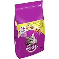 whiskas 1+ Dry Cat Food for Adult Cats with Chicken, 1 Bag (1 x 7 kg)
