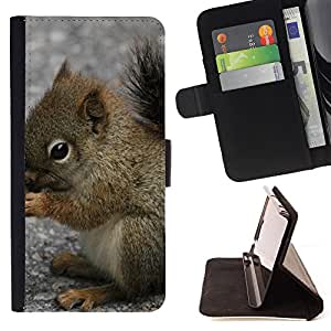 Super Marley Shop - Leather Foilo Wallet Cover Case with Magnetic Closure FOR HTC M8 One 2 - Squirrel